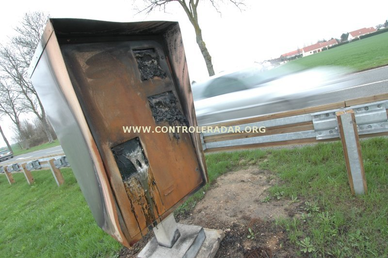 speed camera burned down